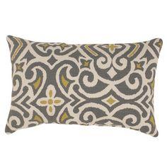Pillow Perfect Grey /Greenish-Yellow Damask Rectangular Throw Pillow