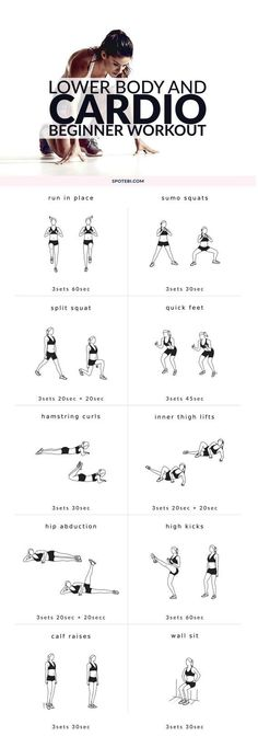 Cardio Workouts - Start sculpting your lower body with this 20 minute beginner workout routine. A mix of cardio and strength training moves to burn off body fat and trim your inner and outer thighs, hips, quads, hamstrings, glutes and calves. Fitness Workouts, Yoga Fitness, At Home Workouts, Fitness Plan, Body Workouts, Workout Exercises, Physical Fitness, Fitness Diet, Pilates Training