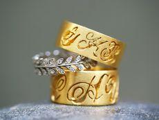 vine ring; beautiful wedding bands - love the monogramming.
