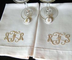 WINE CHARMS & MONOGRAMMED DINNER NAPKINS, in Ivory  These lovely personalized Wine Charms will make the first toast even more special for the Bride & Groom when you add a set of monogrammed dinner napkins! The ivory napkins feature a unique Vine Stitch 3 letter formal monogram. You may have the same monogram on both, or his on one and hers on the other! You may also add the date at no extra charge. You may choose to add the monogram in one napkin corner OR in the center above the hems...