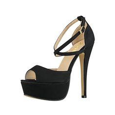Women Sandals 14CM  55 inches Highheeled Peep Toe Platform High Heel Party Sandals Wedding Working shoes Black Size 6M * Continue to the product at the image link.