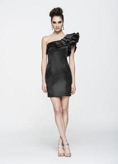 2014 One Shoulder Pleated Neckline Column Satin Prom Dress Short Mini  Elegant 60867063993d