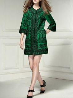 #StyleWe Shop NEXIIA Coats - Green Embroidered H-line Vintage Long Coat online. Discover unique designers fashion at AdoreWe.net.