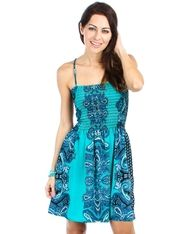 Arabella Ave by Tina  http://www.arabellaave.com/#a_aid=TinaGowans TURQUOISE PAISLEY TIE BACK DRESS $25.00 Fabric Content: 100%POLY * SIZES: M L