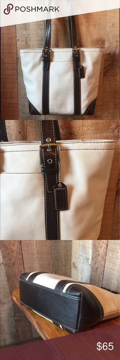 "COACH SATCHEL TOTE F11201 Cream and dark brown leather tote with double straps.  Exterior pockets.  2 interior slip and 1 zipper pocket.  Dark brown interior.  Very clean, inside and out.  I've taken a picture of the worst of the corner wear.  10"" tall x 14"" wide x 4.5"" deep with a strap drop of almost 10"". Coach Bags Totes"