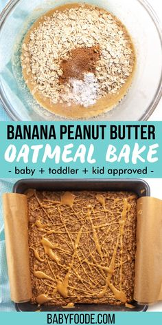 Banana Peanut Butter Oatmeal Bake – a fun, easy and wholesome breakfast or snack that kids of all ages will love! Plus this Oat Bake is made with pantry staples, in one-bowl and with a prep-time of less than 10-minutes! Great baby snack for baby led weaning. Baked Oats, Baked Oatmeal, Healthy Dessert Recipes, Snack Recipes, Desserts, Baby First Finger Foods, Baby Led Weaning Breakfast, Easy Toddler Meals, Baby Snacks