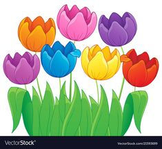 Image with tulip flower theme 4 Royalty Free Vector Image Page Borders Design, Border Design, Cute Wallpaper Backgrounds, Cute Wallpapers, Stick Figure Drawing, Most Popular Flowers, Hand Painted Wine Glasses, Spring Activities, Tulips Flowers