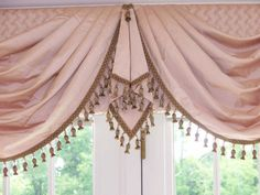 Swags meet perfectly at French doors to hide split tops (Rose Swags, detail) Swag Curtains, Cute Curtains, Curtains And Draperies, Types Of Curtains, Beautiful Curtains, Window Curtains, Drapery, Victorian Curtains, Victorian Windows