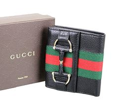 Gucci Women's Black Web Detail Trifold French Leather Wallet 245751 - http://bags.bloggor.org/gucci-womens-black-web-detail-trifold-french-leather-wallet-245751/