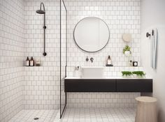 White bathroom ideas with white subway tile bathroom and floating vanity and sink plus shower room and round mirror bathroom for small bathroom decorating ideas Laundry In Bathroom, Bathroom Renos, Bathroom Inspo, Bathroom Interior, Bathroom Inspiration, Bathroom Designs, Mirror Bathroom, Bathroom Table, Bathroom Vanities