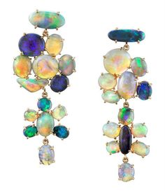 Irene Neuwirth jewelry Limited Edition Rose Gold earrings set with Lightening Ridge Opals