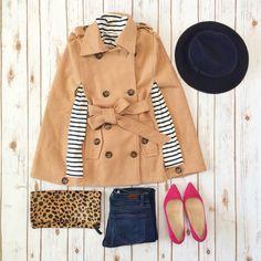 Belted camel cape, striped turtleneck, denim jeans, wool hat, pink pumps and leopard foldover clutch - StylishPetite.com