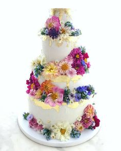 Lael Cakes' Gluten-Free & Vegan Wedding Cakes ~ Gold leaf cake with edible flowers
