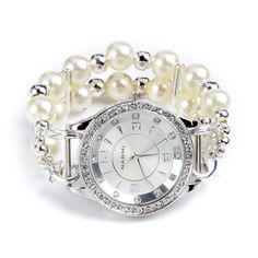 Double stranded silver and white pearl interchangeable beaded watch - watch face included. $30.00, via Etsy.