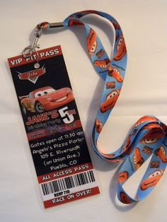 "Love this idea.  Party invitation ordered on Ebay.  Then laminated and attached a lanyard.  Instant ""Pit Pass!"""