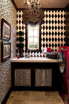 French Inspired Laundry Room, notice curtains