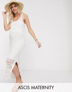 Find the best selection of ASOS DESIGN Maternity crochet knit midi dress with tie waist. Shop today with free delivery and returns (Ts&Cs apply) with ASOS! Asos Maternity, Maternity Tops, Maternity Dresses, Robe Swing, Swing Dress, Belted Shirt Dress, Smock Dress, Robes Midi, Going Out Outfits