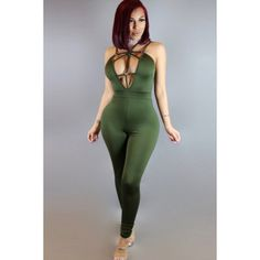 Army Green Plunging V Neck Spaghetti Straps Strappy Sexy Jumpsuit ($25) ❤ liked on Polyvore featuring jumpsuits, backless jumpsuits, olive jumpsuit, army green jumpsuit, olive green jumpsuit and jump suit