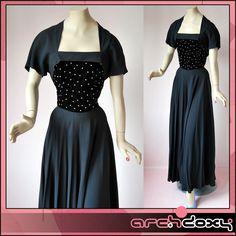 Vintage 1950s Amazing Glass Stone Encrusted Velvet & Crepe Art Deco Ball Gown #artdeco  http://www.ebay.co.uk/itm/Vintage-1950s-Amazing-Glass-Stone-Encrusted-Velvet-Crepe-Art-Deco-Ball-Gown-14-/371649901454?ssPageName=STRK:MESE:IT