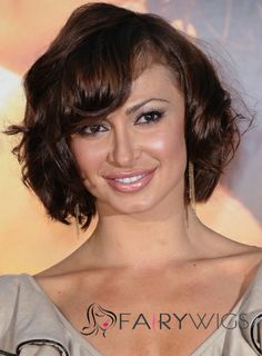 2013 New 100% Indian Remy Hair Short Wavy Sepia Wigs