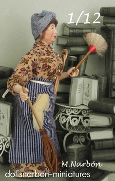 Cleaning woman, 1:12 original porcelain doll by marianarbon on Etsy https://www.etsy.com/listing/206956058/cleaning-woman-112-original-porcelain