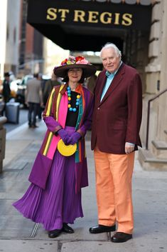 "Artists, Richard Cramer and Carol Markel, always express their love of color through brilliantly coordinated outfits. Carols says, "" We must be soul mates to have been together for 45 years, so it follows that we must have influenced each other's style along the way."""