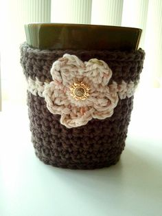 Crochet Two-Toned Fitted Coffee Cozy with Flower / Coffee Jacket / Coffee Sleeve, $10 at The Hook Nook