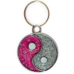 Pandantiv Yin Yang, accesoriu cu pietricele roz pentru brelocuri, coliere, zgardă pisici Yin Yang, Feng Shui, Personalized Items