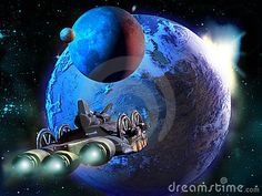 A science fiction mother spaceship approaches to a far planet with two satellites.