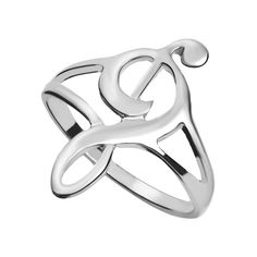 Silver Hollow Music Note Ring ($3.99) ❤ liked on Polyvore featuring jewelry, rings, silver, silver jewellery, silver rings and silver jewelry