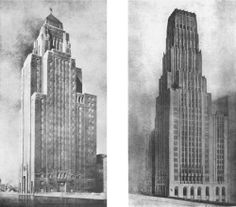 """The Chicago Tribune Tower Competition of 1922 is often cited by architectural historians as a major influence on the design of Chicago skyscrapers during the late 1920s and early 1930s. The second place entry by Eliel Saarinen, is mentioned extensively as being more influential and """"forward looking"""" than the winning entry. Two entries to the Chicago Tribune Tower Competition  Bertram Goodhue's entry (left) received honorable mention & Eliel Saarinen's entry (right) received second prize."""