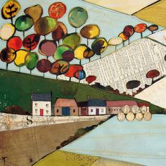 On The Turn | Green Pebble www.helenhallows.com  www.helenhallows.com  http://www.facebook.com/HelenHallowsStudio contemporary art/ limited edition print/ nature/ landscape rural fall autumn cottages trees sun/ collage paper stitch