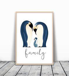 Kids Room Decor, Kids Room Art, Family Art Print, Nursery Wall Art, Family Artwork, Penguin, Home Illustration, Nursery Art Print, Cute Art