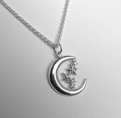 Sterling Silver Moon and Stars Charm by MarisaDianeDesigns on Etsy, $35.00