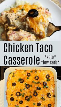 Our chicken taco casserole is simple and flavorful. It's low carb, keto friendly. - keto - Our chicken taco casserole is simple and flavorful. It's low carb, keto friendly, cheesy goodness in a casserole dish. Great for meal prep. Chicken Taco Casserole, Chicken Tacos, Casserole Recipes, Taco Casserole Low Carb, Cheesy Chicken, Chicken Sauce, Tuscan Chicken, Garlic Chicken, Butter Chicken