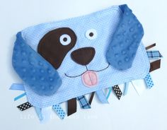 Puppy Dog Ribbon Tag Baby Blankie in Polka Dots Flannel and Blue Minky Dots