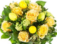 Image of 'easter flowers bouquet with eggs decoration'