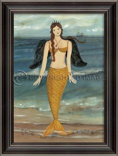 "She finally gets her wings!  A new Golden Angel Mermaid from Spicher Art, this wonderful  21 3/8""x28 3/8"" black-beveled framed art from Kolene Spicher will become treasured art in your beach home."