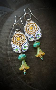 Tin Earrings, Old Tin, Hand Painted, Cones, Brass, Flowers, Rustic, Organic, Primitive, Upcycled, Recycled, Beaded Earrings
