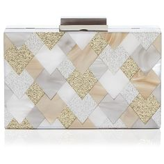 Sondra Roberts Resin Box Clutch (375 AUD) ❤ liked on Polyvore featuring bags, handbags, clutches, neutral, sondra roberts, geometric purse, sondra roberts handbags, sondra roberts clutches and sondra roberts purse