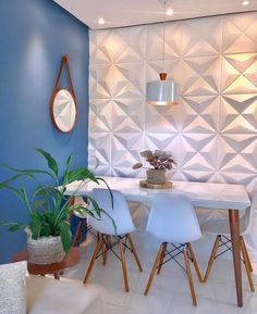 My Home Design, Home Design Decor, Office Interior Design, New Living Room, Living Room Decor, Decora Home, Living Room Wall Designs, Wooden Dining Set, Glamour Decor