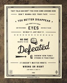 Three great song lyric posters by the Neighborhood Studio, with nice retro lettering and layout. Eye of the Tiger by Survivor You Give Love a Bad Name by Bon Jovi Beat It by Michael Jackson NeighborhoodStudio — Products. Typography Letters, Lettering, Typography Design, Typography Poster, Beat It Michael Jackson, Fantastic Quotes, Graphic Projects, Grafik Design, Music Lyrics