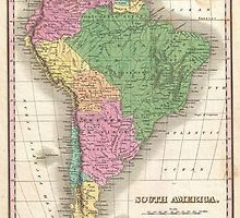 Great Art Now - 1827 Finley Map of South America Canvas Wall Art, Black Vintage Maps, Antique Maps, Vintage Wall Art, Old Maps, Historical Maps, Canvas Artwork, Paper Background, South America, Music Backgrounds