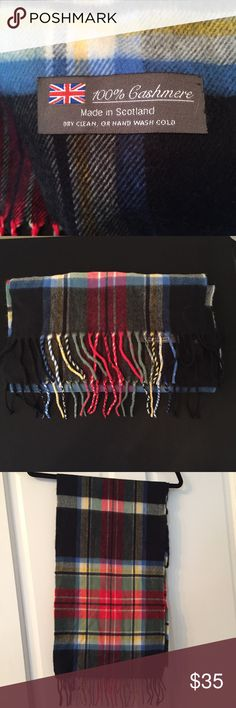 Cashmere scarf Beautiful plaid scarf 100% Cashmere in great condition! Measures 30 by 65 inches, made in  Scotland. Accessories Scarves & Wraps