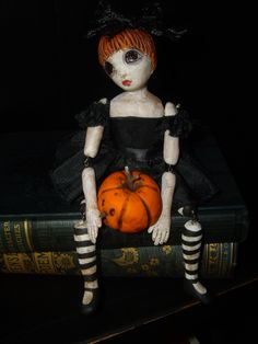 OOAK polymer clay Goth teen doll, Penny Fall and her pet pumpkin Becky Boo now on Ebay for Halloween! Look for me under the Ebay name, Toodlesocks or use this link: http://www.ebay.com/itm/171909643025?ssPageName=STRK:MESELX:IT&_trksid=p3984.m1555.l2649