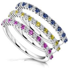 3/4ct TW Blue Yellow and Pink Sapphire and Diamond Rings in 14k White Gold (Set of 3) - Size 4 - http://www.wonderfulworldofjewelry.com/jewelry/rings/34ct-tw-blue-yellow-and-pink-sapphire-and-diamond-rings-in-14k-white-gold-set-of-3-size-4-com/ - Your First Choice for Jewelry and Jewellery Accessories