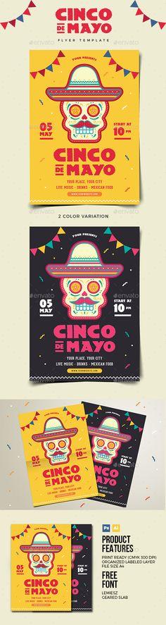 Cinco De Mayo Flyer — Photoshop PSD #holiday • Download ➝ https://graphicriver.net/item/cinco-de-mayo-flyer/19702903?ref=pxcr