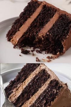 Chocolate Cake with Chocolate Buttercream - - This rich, tender chocolate cake is easy to make and only requires one bowl. It bakes well in a variety of pan sizes so you can make this cake for any occasion. Fun Baking Recipes, Delicious Cake Recipes, Homemade Cake Recipes, Yummy Cakes, Sweet Recipes, Yummy Food, Oreo Cake Recipes, Cake Receipe, Sponge Cake Recipes