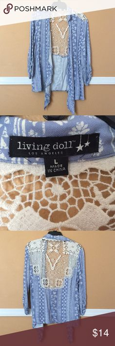 Living Doll Lace Detail Ruffle Blouse Size large super cute wear over t-shirts!  Lace detail! living doll Tops Blouses