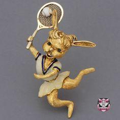 Signed Martine Rabbit Tennis Pin